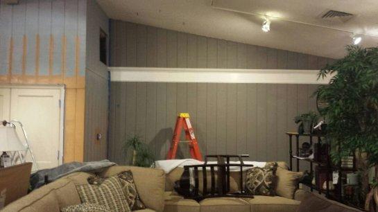 Orange wall being primed